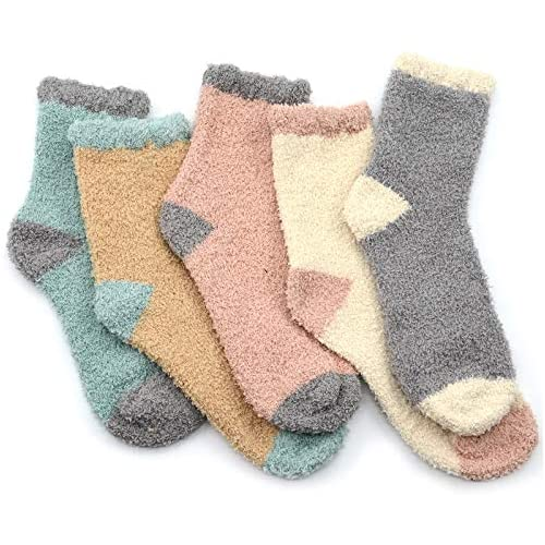 Fuzzy Warm Slipper Socks Women Super Soft Microfiber Cozy Sleeping Socks 5 Pairs