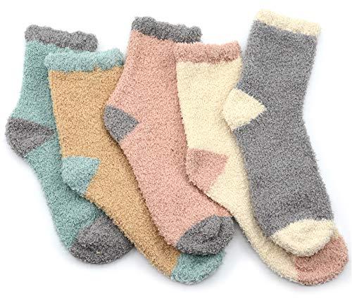 Warm Fuzzy Socks - Fuzzy Warm Slipper Socks Women Super Soft Microfiber Cozy Sleeping Socks 5 Pairs