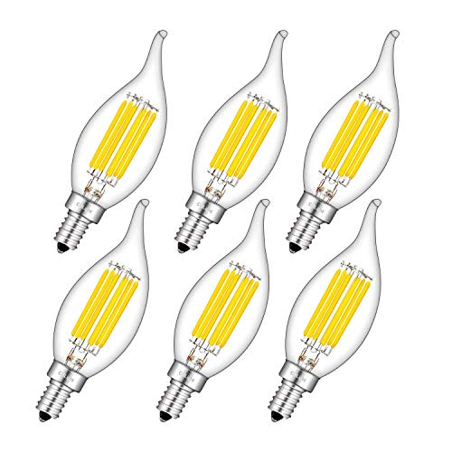 CRLight 6W 4000K LED Candelabra Bulb Daylight White, 70W Incandescent Equivalent 700LM, Replace 12W Compact Fluorescent CFL Bulbs, E12 Base CA11 Clear Glass Dimmable Flame Candle Bulbs, 6 Pack