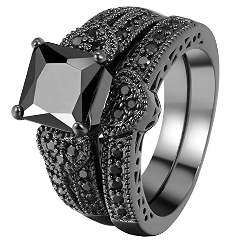 FENDINA Womens Vintage Luxurious Black Gold Plated Wedding Engagement Rings Nano Cubic Zirconia Anniversary Promise Rings Set, Size 8