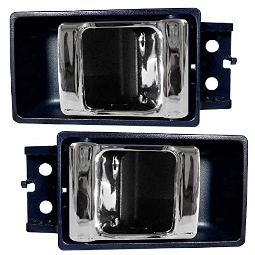 Pair of Inside Inner Blue with Chrome Door Handles Replacement for Nissan Pickup Truck 8067055G03