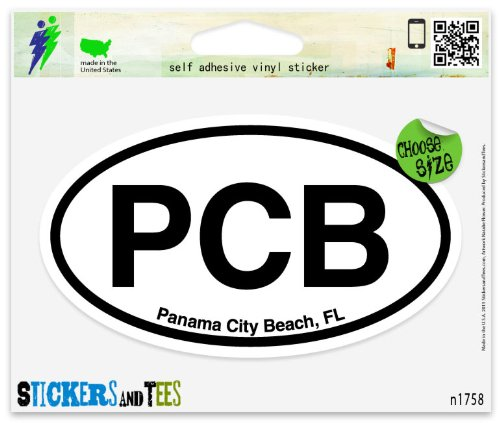 "PCB Panama City Beach Florida Oval Vinyl Car Bumper Window Sticker 5"" x 3"""