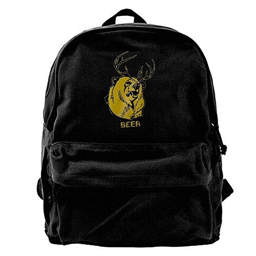Beer Bear Graphic Waterproof Hiking Backpack Travel Bag Canvas Backpack For School Casual Lightweight Laptop Travel Daypack