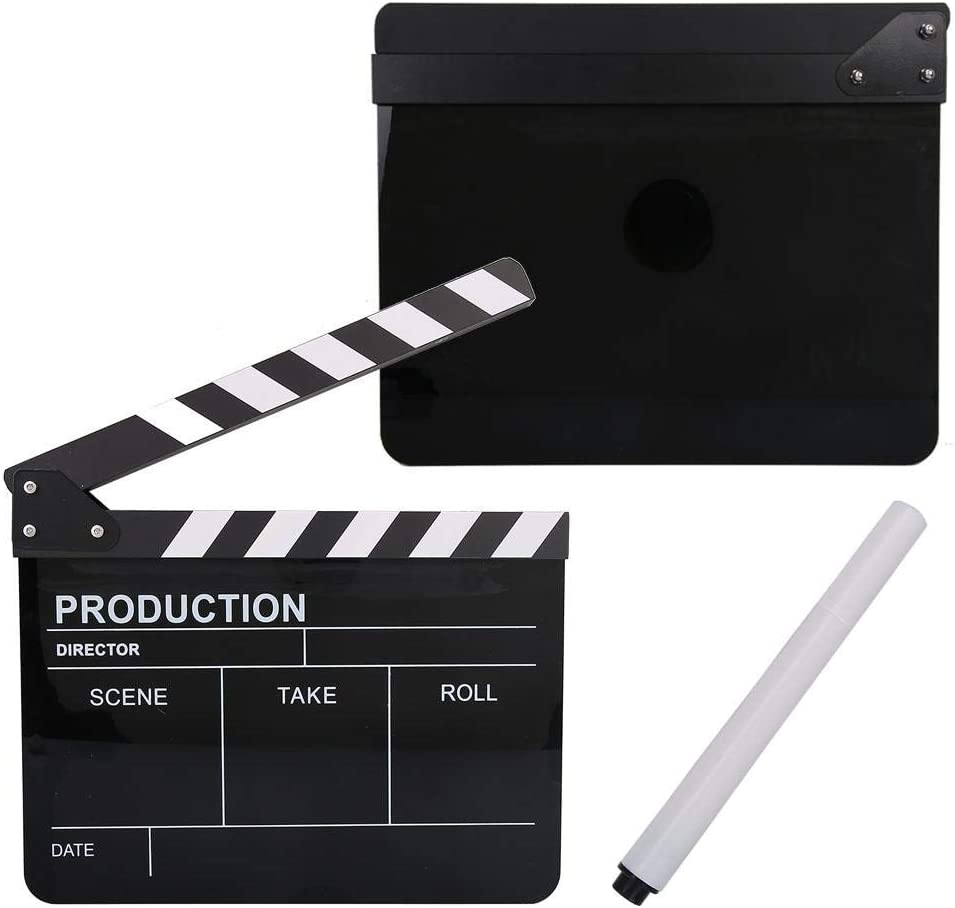 Acouto Acrylic Film Clap Board Director Scene Clapboard TV Movie Action Board Film Cut Prop with Pen 11.8 x 9.8 x 0.7 Inch Black