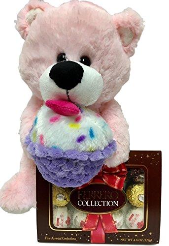 12 Inch Pink Plush Teddy Bear With Cupcake, Ferrero Rocher Assorted Chocolates - Valentine, Get Well, Birthday Gift (Pink Bear)
