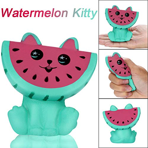 LtrottedJ Adorable Squishies Watermelon Kitty Slow Rising Fruit Scented Stress Relief Toy -