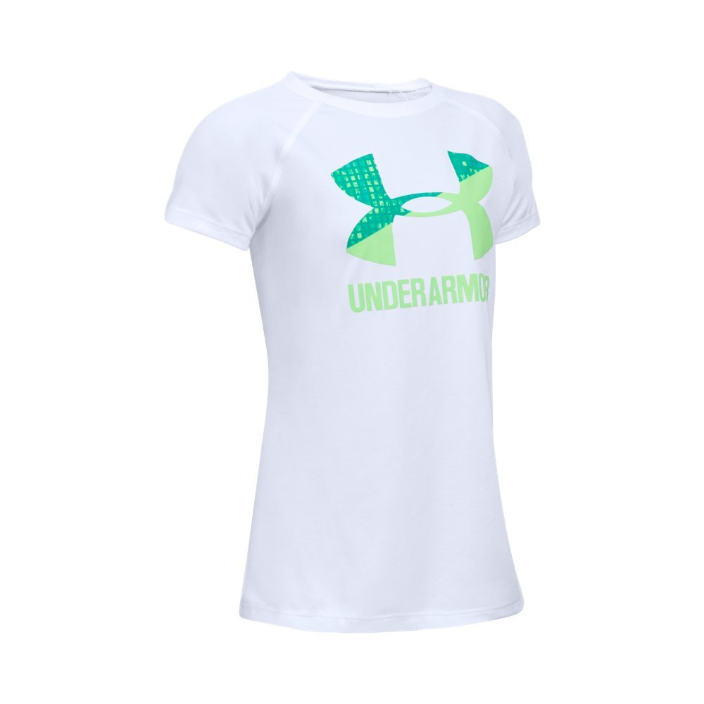 Under Armour Girls Solid Big Logo Short Sleeve T-Shirt,White /Summer Lime, Youth Large