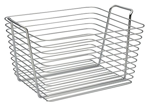 InterDesign Classico Wire Storage Organizer Basket for Bathroom, Bath Towels, Heath and Beauty Products - Large, Chrome (Buy Wire Baskets)