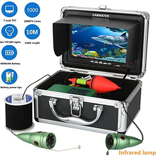 - 10M 1000tvl Underwater Fishing Video Camera Kit 6 PCS Infrared Lamp Lights with7 Inch Color Monitor Color CCD and HD 1000 TV Lines Camera