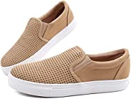 Women' s Fashion Sneakers Perforated Slip on Flats Comfortable Casual Flat Walking Shoes (9, G