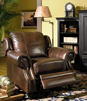 Good Princeton 100 % Top Grain Leather Reclining Chair With Nailheads In  Tri Tone Finish
