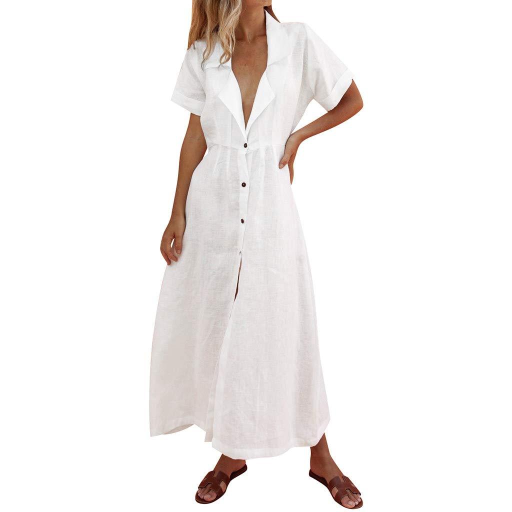 ☆HebeTop Women's Elegant Long Dress Deep V Neck Slit Evening Prom Maxi Dresses White
