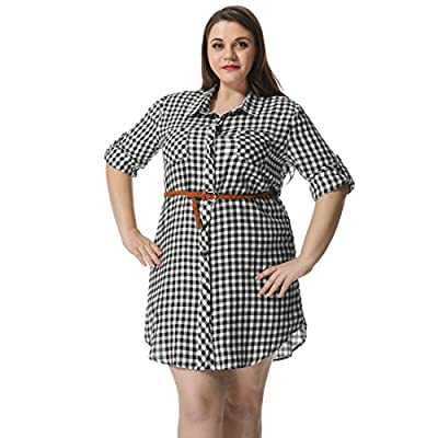 Agnes Orinda Women's Plus Size Roll Up Sleeves Belted Plaid Shirt Dress
