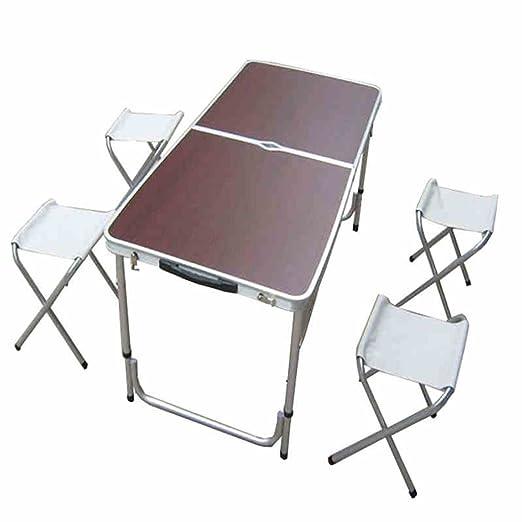 QAWSED Mesa de exhibición Plegable Mesa de Picnic Mesa y sillas ...