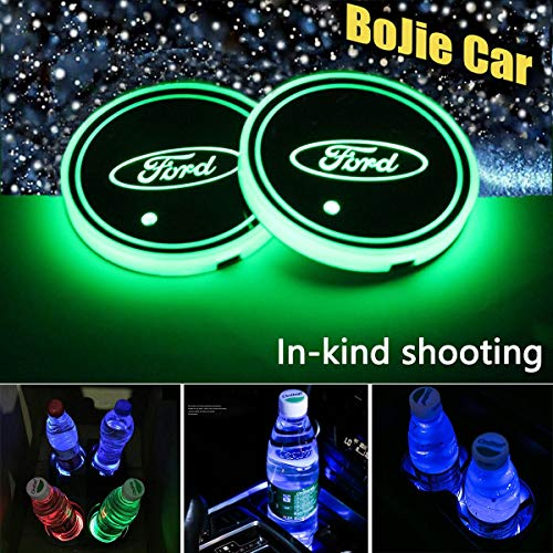 (2pcs LED Car Logo Cup Holder Lights for Ford, 7 Colors Changing USB Charging Mat Luminescent Cup Pad, LED Interior Atmosphere Lamp Decoration Light. (Ford))
