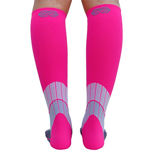 BLITZU Compression Socks 15-20mmHg for Men & Women BEST Recovery Performance Stockings for Running, Medical, Athletic, Edema, Diabetic, Varicose Veins, Travel, Pregnancy, Relief Shin Splint S/M Pink by BLITZU (Image #9)