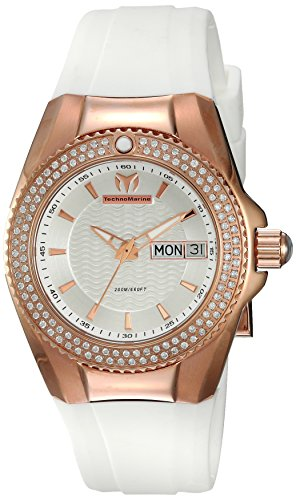 Technomarine Women's 'Cruise' Quartz Gold and Silicone Casual Watch, Color:White (Model: TM-115236)