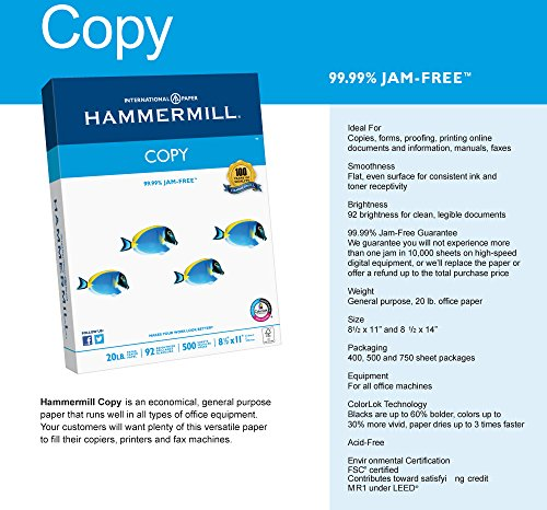 Hammermill Paper, Copy Poly Wrap, 20lb, 8.5 x 11, Letter,  92 Bright, 400 Sheets / 1 Ream (150200R), Made In The USA