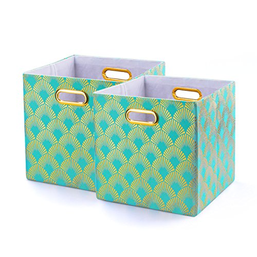 BAIST Decorative Storage Cubes,Pretty Foldable Linen Fabric Bed Storage Bins Baskets for Toys Clothes Towel First Day of School-2 Pack,Aqua Fan