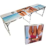CAN'T STOP PARTY SUPPLIES Portable Tailgating Beer Pong Table Easily Foldable - Choose Your Design (Triple Lady)