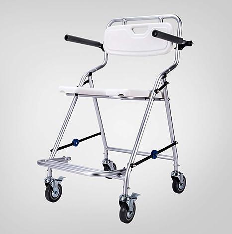 Yxsd Baño Silla de ducha de baño plegable con ruedas Reposabrazos y respaldo, Aleación de