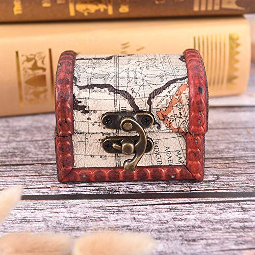 Wall of Dragon Antique Vintage Case Retro Small Wood Lock Box Storage Jewelry Bracelet Pearl Case Wooden Gift Holder Case ()