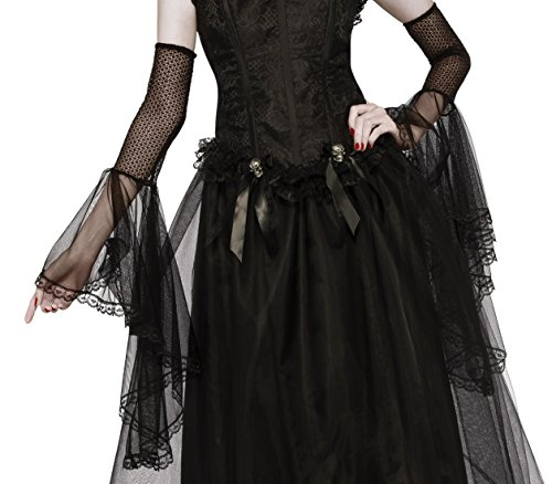 Rubie's Costume CO. Women's Gloomy Gauntlets Costume Accessory, Black, One (Bell Sleeves Lace Costume)