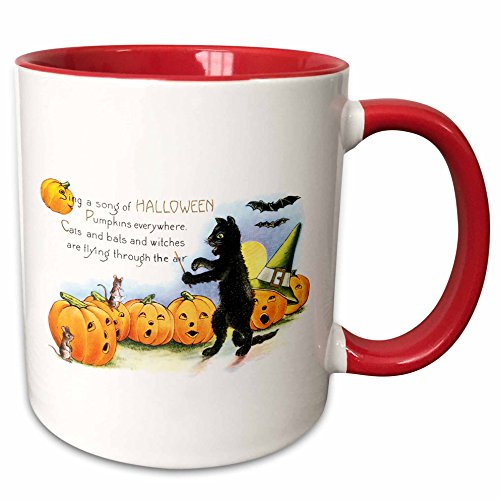 3dRose BLN Vintage Halloween - Vintage Sing a Song of Halloween Black Cat Bats and Jack O Lantern Pumpkins - 15oz Two-Tone Red Mug -
