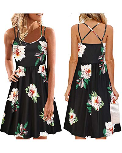 ULTRANICE Women's Summer Floral Sleeveless Adjustable Spaghetti Backless Short Dress(Floral04,XL) ()
