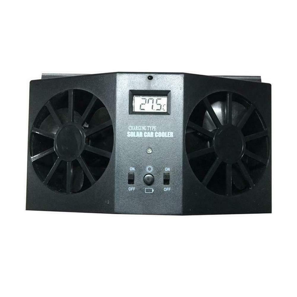 Ventilateur de voiture solaire //Climatiseur automatique /à fourgonnette avec syst/ème de r/éfrig/ération automatique /à double sortie dair //D/ésurchauffeur de ventilateur de ventilation de fen/être Noir