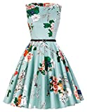 Something radiantly retro for you, darling. The dress is a 1950s circle swing style that's vibrant. A modest bateau neckline with a banded natural waist and full circle swing skirt that falls in a fabulously voluminous A-line silhouette. This bewitch...