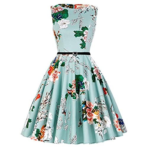 Womens Cotton Vintage Floral 50s Themed Party Dresses S CL86-33