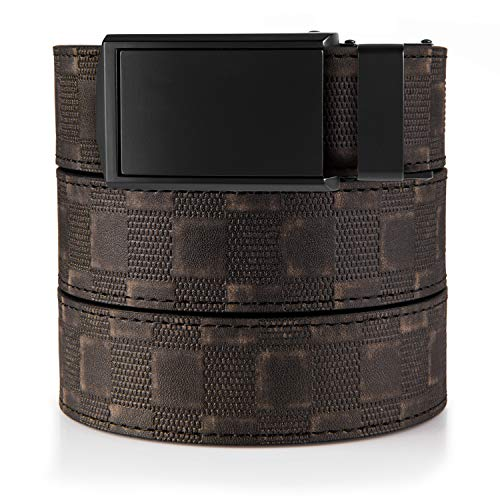 SlideBelts Men's Classic Belt - Custom Fit (Distressed Checkered Leather with Matte Black Buckle (Vegan), One Size)