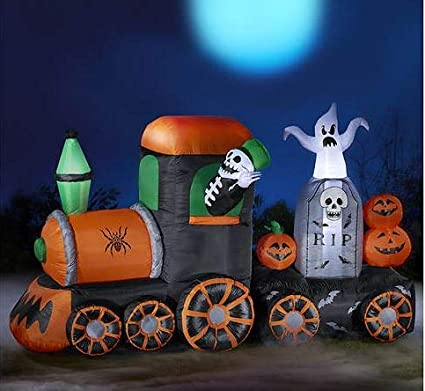 Amazon.com: Lighted Inflatable Train Ghost Skeleton ...
