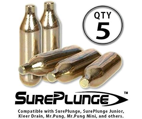 SurePlunge Co2 Cylinder - Qty 5 Cylinders in 5-Pk Box (8g single-use for SurePlunge, Mr.Pung, Mr.Pung Mini, Kleer (5 Cylinder)