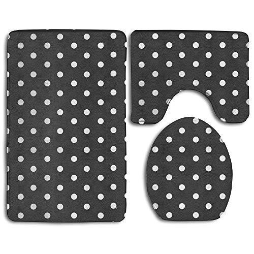 Black And White Polka Dot Bath Mat,Bathroom Carpet Rug,Non-Slip 3 Piece Bathroom Mat Set (Polka Dot Bathroom)