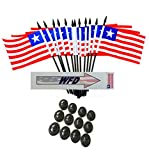 Pack of 12 4''x6'' Liberia Polyester Miniature Office Desk & Little Table Flags, 1 Dozen 4''x 6'' Liberian Small Mini Handheld Waving Stick Flags with 12 Flag Bases (Flags with Stands)