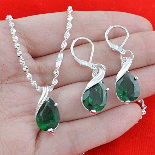 r Natural Emerald Jewelry Set Women Necklace Pendant Drop Earrings (Tiffany Emerald Earrings)