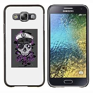 Cráneo del pirata- Metal de aluminio y de plástico duro Caja del teléfono - Negro - Samsung Galaxy E5 / SM-E500