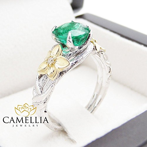 Natural Emerald Engagement Ring 14K 2 Tone Gold Floral Ring with Diamonds