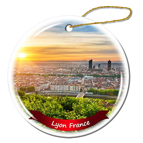Fhdang Decor Lyon France Christmas Ornament Porcelain Double-Sided Ceramic Ornament,3 Inches (Christmas France Ornaments Lyon)
