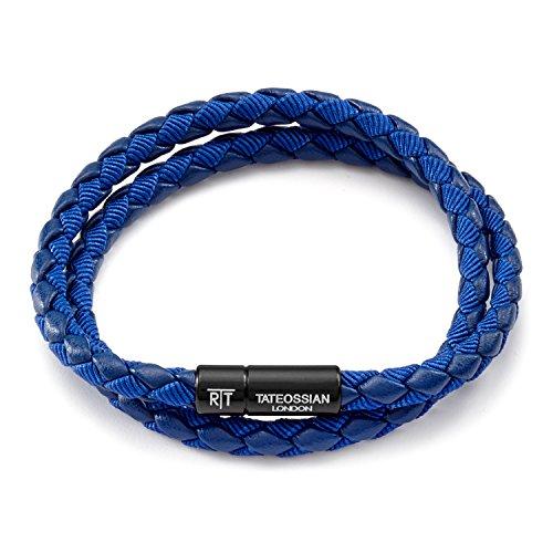 Tateossian Men's RT Chelsea Bracelet en cuir italien Bleu
