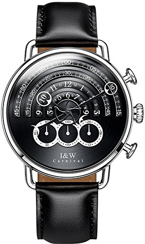 tz Chronograph Sport Watches for Men Black Dial Leather Band (Black) ()