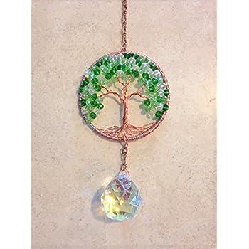 Amazon.com : Crystal Sun Catcher Tree of Life Window Ornament with ...