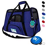 Image of Premium Soft-Sided Pet Travel Carrier by PetAmi   Airline Approved, Ventilated Design, Safety   Ideal for Small to Medium Sized Pet (Royal Blue)