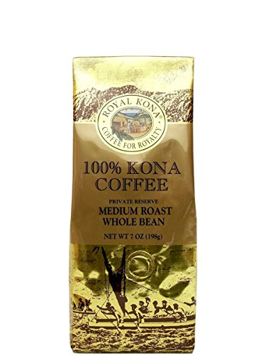 Royal Kona Coffee for Royalty, 100% KONA COFFEE, Whole Bean, Medium Roast, 7 Ounce, PRIVATE RESERVE