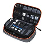 BAGSMART Compact Cable Organizer Bag Portable Travel Case- 3 Layer, Gray&Orange