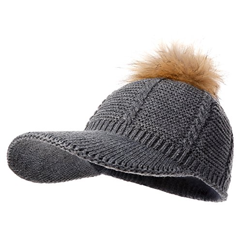 Naomi Time Knit Pom Pom Baseball Hat With Real Fur Cap Naomitime Slouchy Hat Cap With Visor For Women and Girls