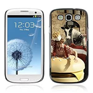 Designer Depo Hard Protection Case for Samsung Galaxy S3 / Abstract Cow Chasing Man