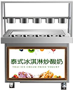 JIAWANSHUN Fried Ice Cream Machine Ice Cream Roll Maker Machine with Single Pan (740x350mm, 220V)